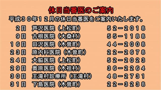 休日当番医のご案内(30年12月)