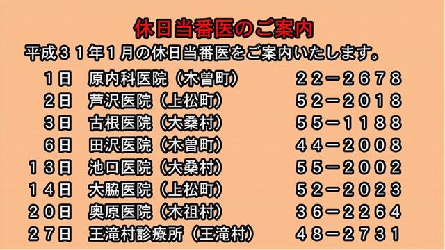 休日当番医のご案内(31年1月)-1