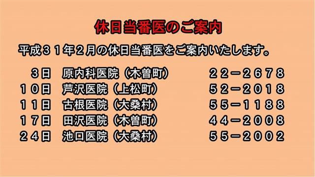 休日当番医のご案内(31年2月)