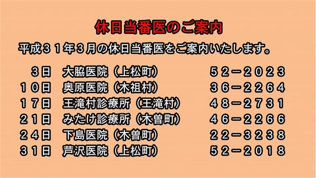 休日当番医のご案内(31年3月)-1