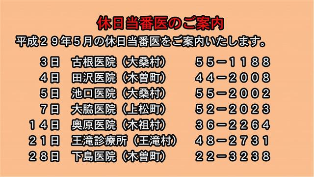 休日当番医のご案内(29年5月)