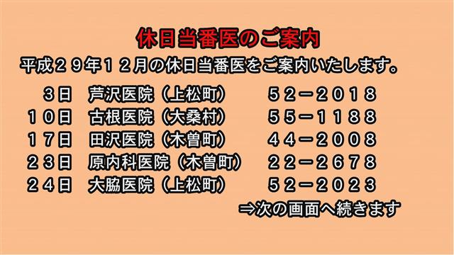 休日当番医のご案内(29年12月)