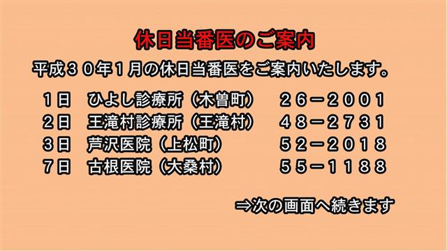 休日当番医のご案内(30年1月)-1